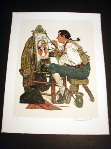 """Norman Rockwell Original Lithograph Hand Signed """"Ye Pipe and Bowl"""" 3/200"""
