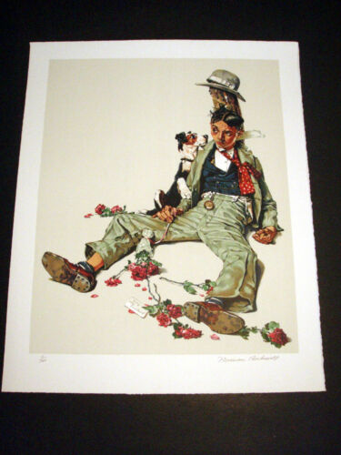 """Norman Rockwell Original Lithograph Hand Signed """"Rejected Suitor"""" 3/200"""