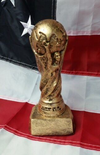 "FIFA World Cup Soccer 7"" Dry Brush Gold Handmade Sculpture 100% MADE IN USA"