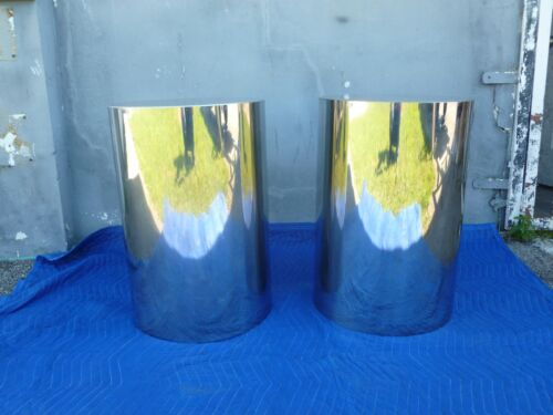 PAIR OF MOD SPACE AGE 70'S CUSTOM MADE CHROME CYLINDER DRUM TABLES LIKE PACE