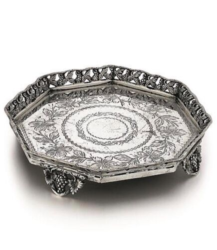Portuguese Silver Footed Salver Handcrafted Antique 19c 378g HEAVY Openwork Bord
