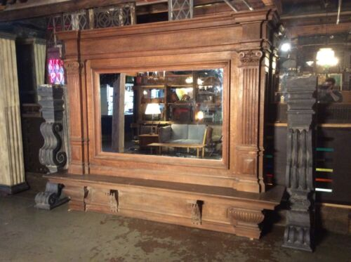 Enormous Carved Oak and Granite Fireplace Mantel with Mirror from Belgium #7713