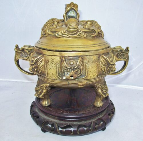 """6.4"""" Vintage Chinese Brass Censer with Lid, DRAGONS, Qianlong Marks & Wood Stand"""