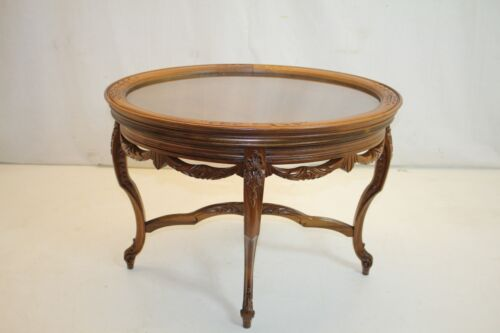 French Louis XV Walnut Lift Top Tray Tea Side End Table with carved swags Apron