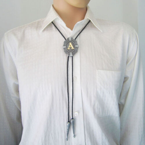 Initial Letter A to Z Western Cowboy Rodeo Bolo Tie USA Seller Free Shipping