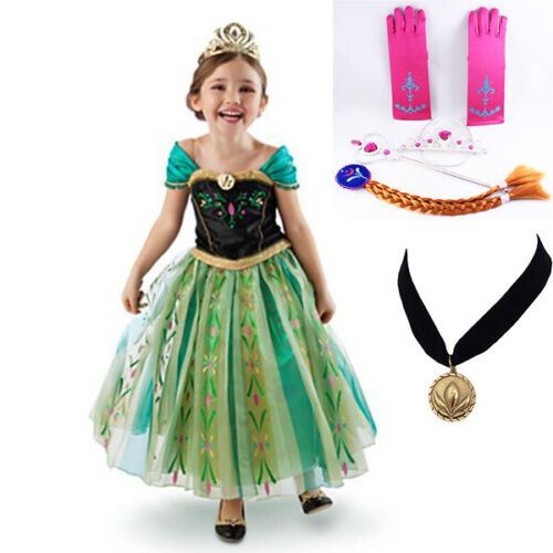 Girl Dress Princess Queen Anna Party Birthday Costume size 2-7 Yrs