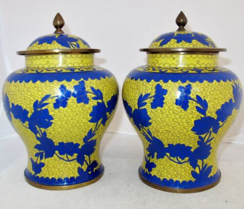 """8.5"""" Pair of Antique Chinese Yellow & Blue Cloisonne Ginger Jars with Flowers"""