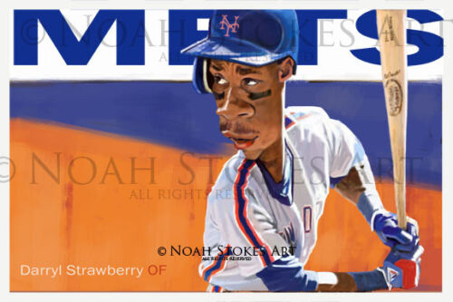 Darryl Strawberry NY Mets Sports Art Baseball Print by Noah Stokes