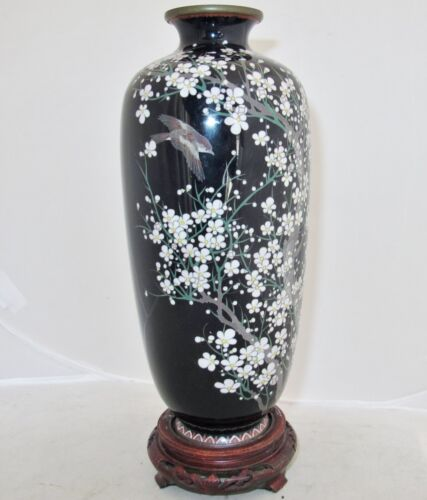 HAYASHI ? Signed Antique Japanese Black Cloisonne Vase with Flowers & Bird 9.6""