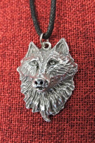 Wolf Head Fenris Pendant Viking Game of Thrones Pagan Thor Norse Pewter Necklace