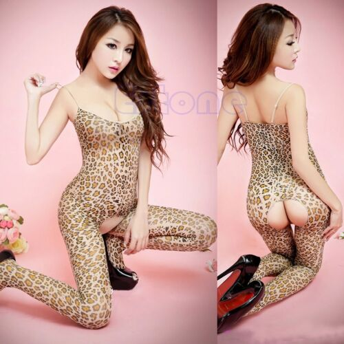 Women Sexy Lingerie Leopard Print Open Crotch Lady Crotchless Full Body Stocking