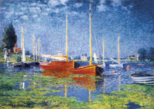 Monet - Red Boats - Huge A0 size 84x118.8cm QUALITY Canvas Art Print Unframed
