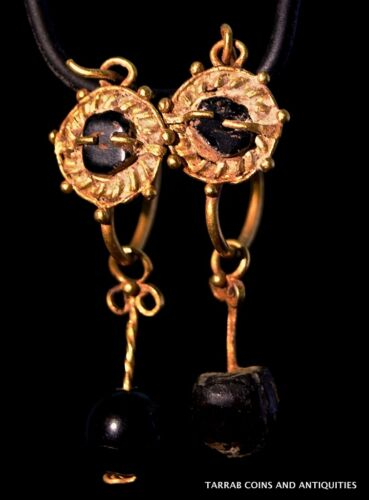 ANCIENT ROMAN GOLD PAIR OF DANGLING EARRINGS 100 BC - 200 A.D. CHOICE PAIR!
