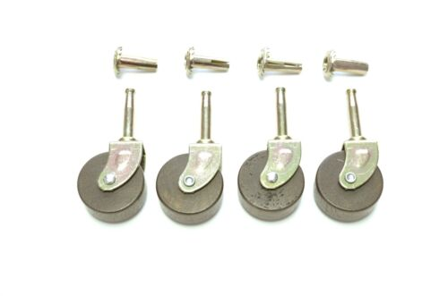 4 LOT CASTERS FURNITURE CASTERS WOOD CASTER  LARGE ANTIQUE STYLE  WITH INSERTS