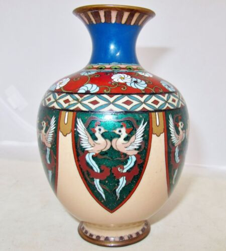 "5.85"" Antique Japanese Meiji Cloisonne Vase with Phoenix Birds & Flowers"
