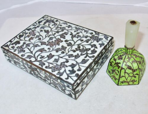 """Antique Chinese 6"""" White Enamel Cigarette Box & 3.7"""" Green Bell with Serpentine"""