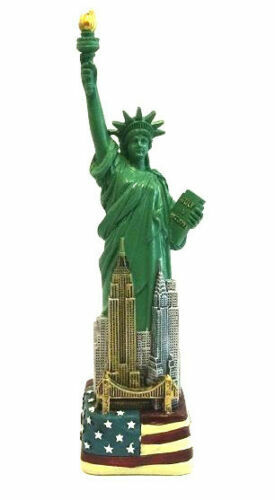"6"" Statue of Liberty Figurine w.Flag Base and New York City SKYLines from NYC"