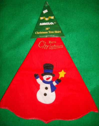 Amglo/embroidered/snowman/merry/christmas/red/tree/skirt! (38