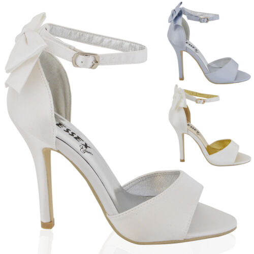 Womens Stiletto Heel Ankle Strap Ladies White Ivory Bridal Peeptoe Sandals Shoes