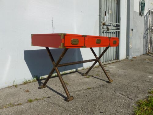 MID CENTURY SHOW STOPPING FIRE ENGINE RED CAMPAIGN DESK W GILT IRON BASE - P