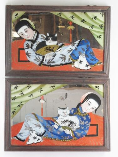 RARE Pair of Antique Chinese Reverse Painting on glass c. 1850  Ladies & CATS