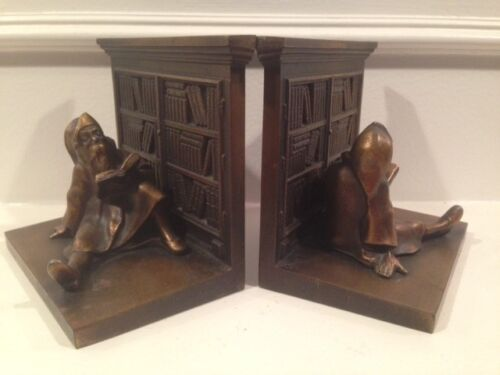 Antique Art Deco BRADLEY & HUBBARD LIBRARY GNOME Pair of Bookends B&H Bronze