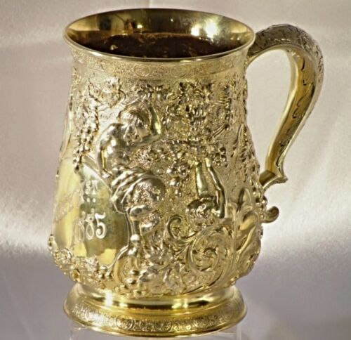 A FANTASTIC TIFFANY & Co. GILT STERLING SILVER MUG/TANKARD, C. 1875