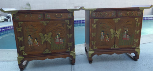 2 SET ASIAN/CHINESE DRESSER TABLES ANTIQUE WOOD  PEOPLE/BUTTERFLY/FLOWER MOTIF
