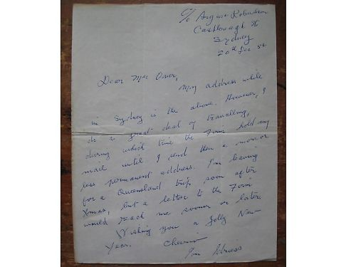 ION.L.IDRIESS..Full page letter..signed & dated..1954 <br/> Autograph..Ion.L.Idriess