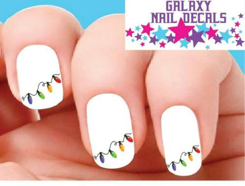 Waterslide Nail Decals - Set of 20 Colorful Holiday Christmas Lights