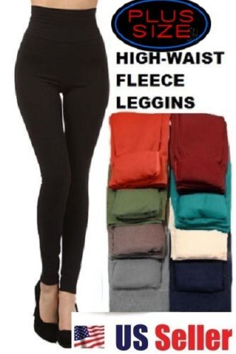 Plus Size Shapewear Fleece Leggings High Waist Thick Tummy Control XL/XXL