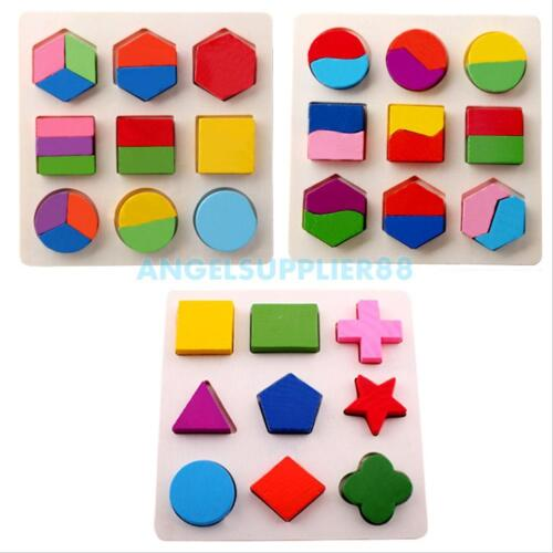 Kids Baby Wooden Geometry Block Puzzle Montessori Early Learn Educational Toy #A