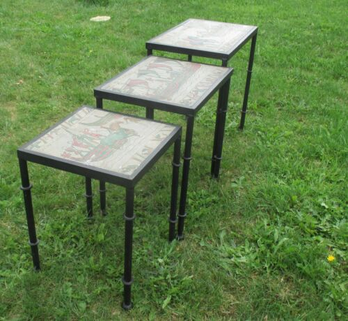 Unique Natural Stone Hand Made  Iron Nesting Tables Tapestry Bayeux Scene