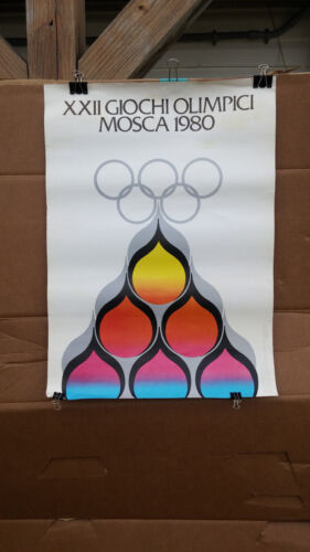 OLYMPIC GAMES MOSCOW 1980 OFFICIAL ORIGINAL VINTAGE POSTER ITALIAN PROMO