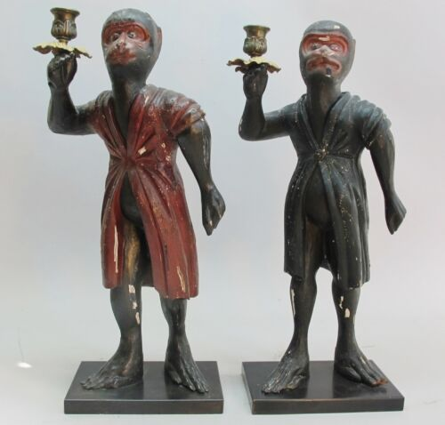 Pair of Early 19th C. Carved German Wood MONKEY Form Candle Holders  c. 1820