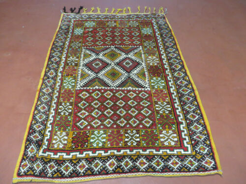 3' X 5' Vintage Hand Made Moroccan Tribal Wool Azilal Rug Carpet Medallion  Nice