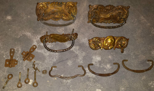 Lot of Antique Cast Brass Furniture Dresser Drawer Pulls Very Ornate very old