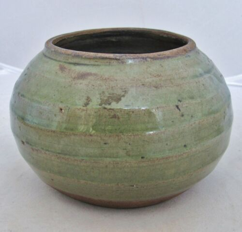 """SONG / YUAN Dynasty ? Antique Chinese Celadon Green Glazed Squat Vase  (5.7"""")"""