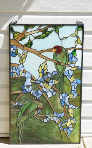"20"" x 34"" Tiffany Style stained glass window panel 2 parrots"