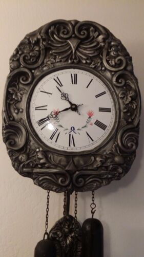 Rare Pewter French Morbier Comtoise Wall Clock Keeps Good Time Strikes Cleanly