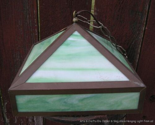 Antiq Arts & Crafts Era Hanging Light Lamp Copper Frame & Green Slag Glass c1910