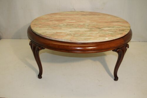 Louis XV Style Solid Mahogany Marble Top Coffee Table