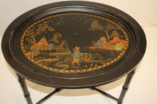 chinese Hand painted Black Oval Side End Coffee Table, Oriental