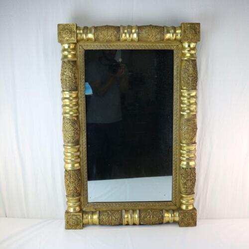 A 19th Century Giltwood Pier Mirror, Thick Empire Column Form Antique American