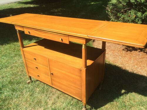 JOHN WIDDICOMB ROLLING BAR CART WITH FLIP UP SIDES MID-CENTURY DANISH