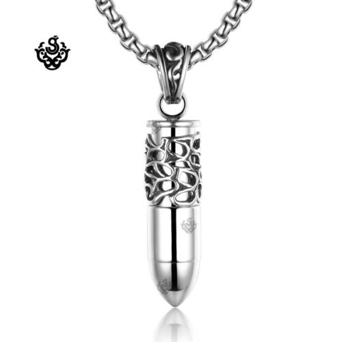 """Silver bullet solid pendant stainless steel ball chain necklace soft Gothic 24"""""""