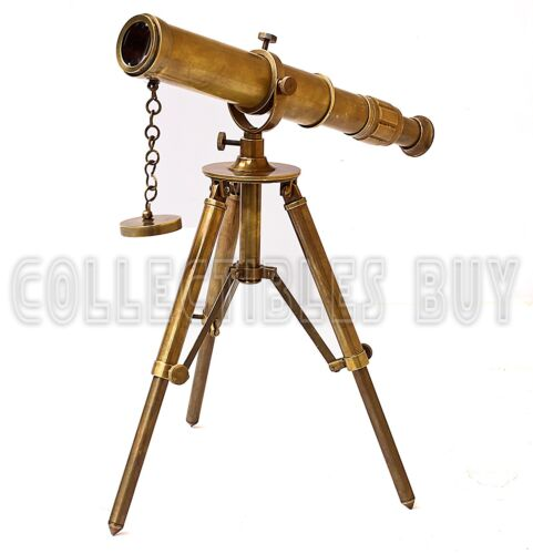 Full brass antique finish Table Telescope with Folding Portable Metal Tripod 15X