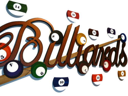Billiards Sign, wall hanging,sculpture, game room, wall decor with  7 balls