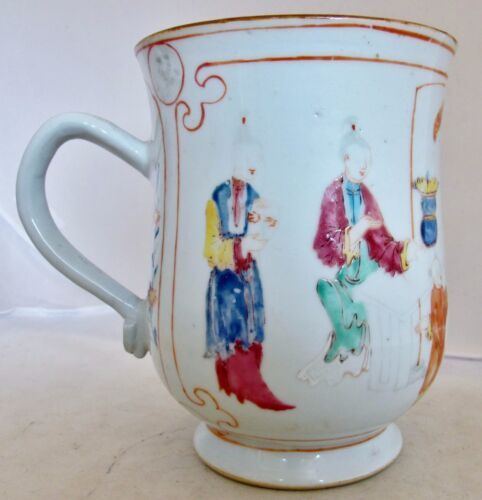 "6.7"" Antique 18th Century? Chinese Export Hand Decorated Porcelain Tankard Mug"