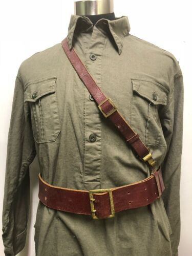 WWII WW2 GERMAN LEATHER SAM BROWN OFFICERS BELT & CROSS STRAP REENACTOR UNIFORM Germany - 156432